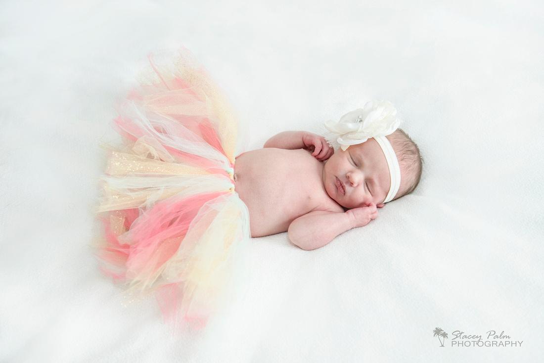 Newborn baby girl in cute tutu